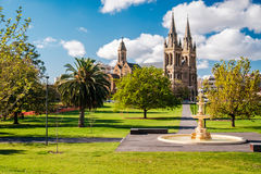 St. Peter's Cathedral in Adelaide. South Australia. View from Pennington Gardens Royalty Free Stock Images