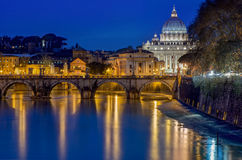 Rome landscape by night. St. Peter's Cathedral and bridge St. Angelo at night, Rome Stock Photo