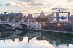St. Peter`s cathedral and Bridge Vittorio Emanuele II, Rome Stock Photography
