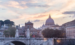 St. Peter`s cathedral and Bridge Vittorio Emanuele II, Rome Royalty Free Stock Photos