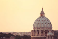 St. Peter's Cathedral dome in Vatican Royalty Free Stock Photography