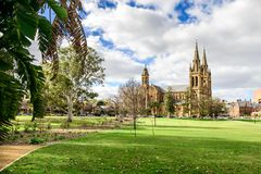 St. Peter`s Cathedral located in North Adelaide. On a day viewed from Pennington Gardens Royalty Free Stock Photography
