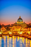 St. Peter's cathedral at night, Rome Royalty Free Stock Photography