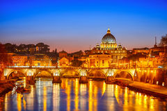 St. Peter's cathedral at night, Rome. Night view at St. Peter's cathedral in Rome, Italy Stock Photos