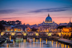St. Peter's cathedral at night, Rome. Night view at St. Peter's cathedral in Rome, Italy Stock Photo