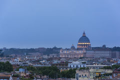 St. Peter's cathedral in Rome, Italy. Dusk time Royalty Free Stock Photo