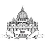 St. Peter\'s Cathedral, Rome, Italy. Famous landmark. Travel label. Royalty Free Stock Photo