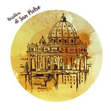 St. Peter`s Cathedral, Rome, Italy. Hand drawn vector illustration on white background. Saint Pietro Basilica. St. Peter`s Cathedral, Rome, Italy. Hand drawn Stock Photos