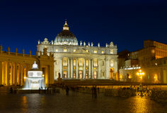 St. Peter's cathedral  in Rome, Italy. St. Peter's cathedral  in Rome illuminated at night, Italy Stock Photos