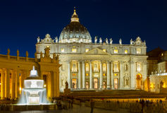 St. Peter's cathedral  in Rome, Italy. St. Peter's cathedral  in Rome at night, Italy Royalty Free Stock Photos
