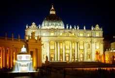 St. Peter's cathedral  in Rome, Italy. St. Peter's cathedral in Rome at night, Italy, toned Stock Images