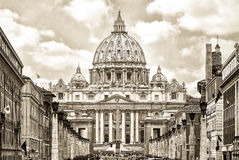 St. Peter's cathedral in Rome, Italy. Split Toning. Stock Photos