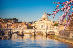 St. Peter`s cathedral in Rome. View at Tiber and St. Peter`s cathedral in Rome Royalty Free Stock Image