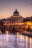 St. Peter's cathedral at sundown, Rome. Italy Royalty Free Stock Image