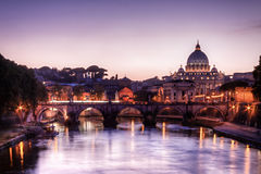 St. Peter's cathedral at sundown, Rome. Italy Stock Image