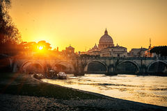 St. Peter's cathedral at sunset, Rome Royalty Free Stock Photo