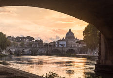 St. Peter`s cathedral on Tiber in Rome. Italy Royalty Free Stock Photos