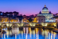 St Peter`s Cathedral over river Tiber Royalty Free Stock Images