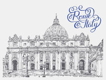 St. Peter's Cathedral, Vatican with original hand lettering insc Stock Images