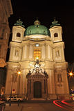 St. Peter's Cathedral,Vienna. St. Peter's Cathedral Church at night, Vienna Royalty Free Stock Images
