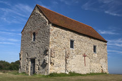 St Peter's Chapel, Bradwell-on-Sea, Essex, England. St Peter's-on-the-Wall Chapel, Bradwell-on-Sea, Essex, England, set on the site of the Roman fortress of Stock Image