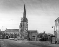 St Peter's Church, Hereford black and white HDR photography Stock Images