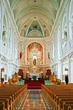 St. Peter's Church - Interior. The ornate and stately interior of St. Peter's Church in Cheticamp, Nova Scotia on Cape Breton Island Stock Photos