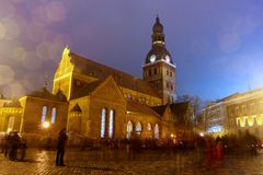 St. Peter's Church in light, Riga Royalty Free Stock Photo