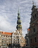 St. Peter's Church medieval architecture buildings  capital Riga Stock Photo