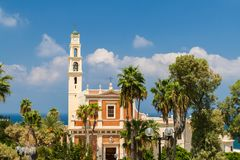 St. Peter`s Church, Old Jaffa in Tel Aviv Yaffo, Israel. View of the St. Peter`s Church, bell tower and facade of the Saint Peter Church, Franciscan church in stock image