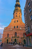 St. Peter's Church in the Old Town of Riga Stock Photos