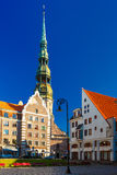 St. Peter's Church in the Old Town of Riga, Latvia Royalty Free Stock Photography