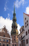 St Peters Church. In Riga, Latvia was first built in 1209 from timber and was later rebuilt in stone.  In 1997 it was included as a UNESCO world heritage site Royalty Free Stock Images