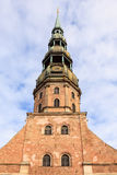 St Peters Church. In Riga, Latvia was first built in 1209 from timber and was later rebuilt in stone.  In 1997 it was included as a UNESCO world heritage site Royalty Free Stock Photo