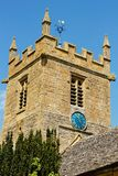 St Peter's Church Tower Blue Clock Face - Stanway Cotswolds Royalty Free Stock Photo