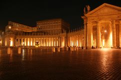St. Peter's Colonnade Night Stock Photo