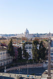 St. Peter's Cupola from Piazza del Popolo Pincio Hill - Rome Royalty Free Stock Photography