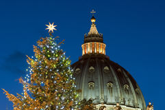 St. Peter's dome and Christmas tree - close up. St. Peter's dome and Christmas tree at night - close up (Rome Stock Photos