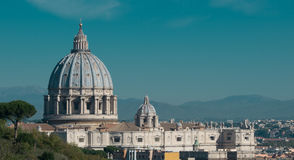 St. Peter's dome. With landscape of Rome Royalty Free Stock Image