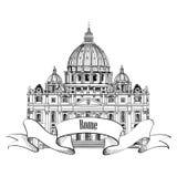 St. Peter, s katedra ', Rzym, Włochy. Sławny punkt zwrotny. Podróży etykietka. royalty ilustracja