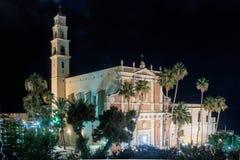 St Peter & x27; s kyrktar på natten i den gamla staden Yafo, Israel Royaltyfri Bild