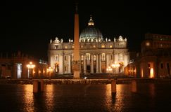 St. Peter's (Rome-Italy)Night. St. Peter's (Rome - Italy - Vatican City) Basilica at night / Evocative lights on the house of the Pope and Christians / St Peter' Royalty Free Stock Image