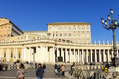St. Peter's Square, the basilica. Vatican City is home to some of the most famous art in the world. St. Peter's Basilica, whose successive architects include Stock Photography