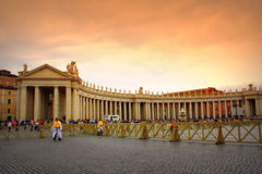 St. Peter`s Square colonnades Vatican Stock Photos