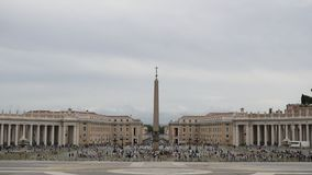 St. Peter`s Square in front of St. Peter`s Basilica in the Vatican City, Rome, Italy. Time lapse stock video
