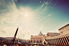 Free St. Peter S Square In Vatican City. View On The Basilica, Colonnades And The Obelisk Royalty Free Stock Photography - 60250587