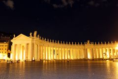 St Peter's square at night. In Rome, Italy Royalty Free Stock Image