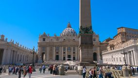 Passage through St. Peter`s Square Vatican city Rome in time lapse. St. Peter`s Square passage through famous square front of Basilica of Saint Peter, Rome Italy stock video footage