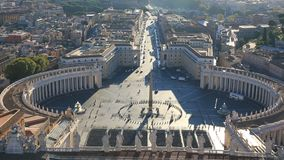 View from the dome of St. Peter`s Cathedral, Vatican city. St. Peter`s Square, Piazza San Pietro in Vatican City. Italy. View from St. Peter`s Basilica dome stock video footage