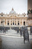 St Peter's square Rome - Italy. Preparation for the general audience in St Peter's square  Rome Italy Stock Photo
